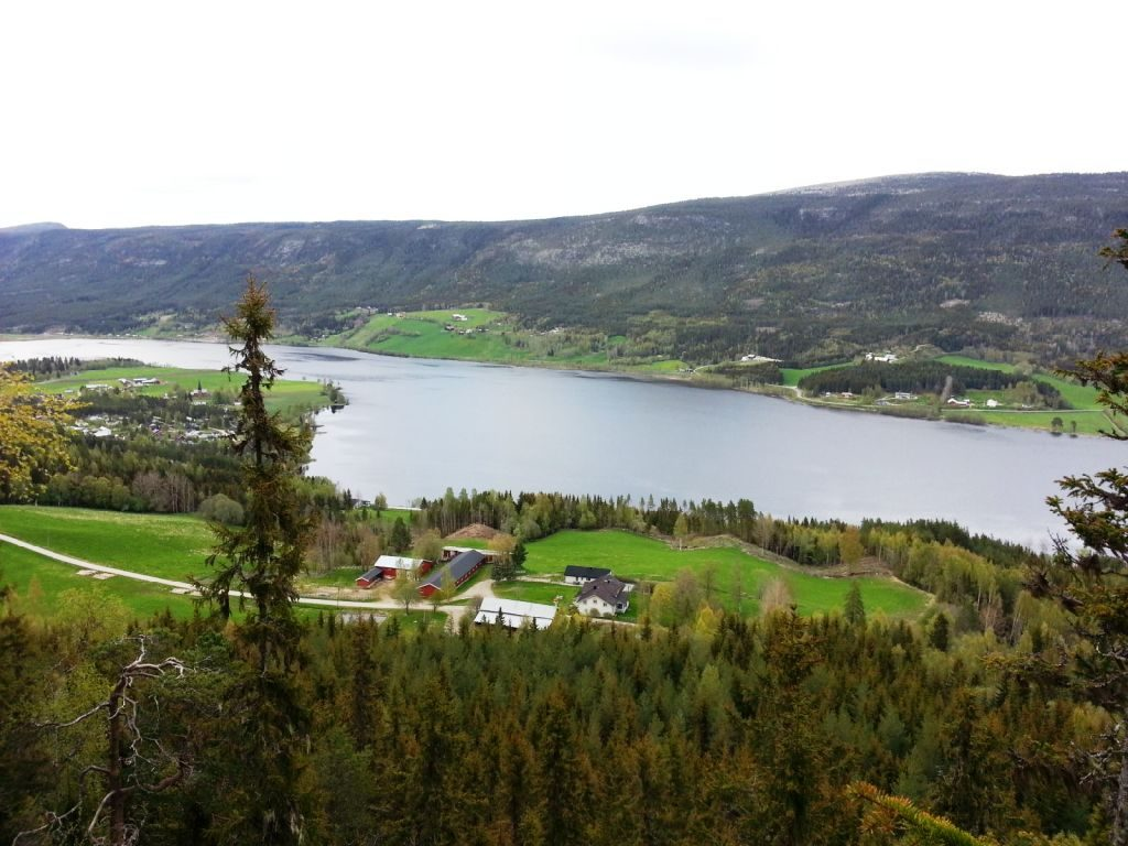 Utsikt utover Lomnessjøen fra Veslekletten 465 moh.